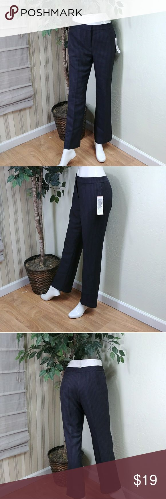 """Le suit striped petite dress pants Le Suit Women Petite Dress Pants, size 4-petite, full lining, color charcoal, straight leg, button and zipper closure, measures 14.5 waist, 10"""" front rise, 28.5 inseam, 18.5 hips with 8"""" leg opening, made of polyester blend, comes new as closeout/salvage item since is missing the top great cosmetic condition. Le Suit Pants Straight Leg"""