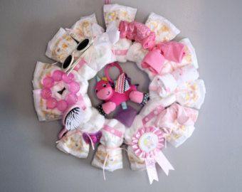 Baby Girl Diaper Wreath-Baby Shower by LavishInspirations on Etsy