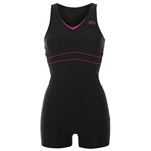 Slazenger Womens Boyleg Legsuit Ladies Swimming Costume Swimsuit Beachwear Slazenger Boyleg Legsuit Ladies  The Slazenger Boyleg Legsuit serves up a classic boyleg style with a racer back design for increased freedom of movement, complete with Slazenger logo.Ladies legsuit swimming costume Thick straps V-neck Racer back for freedom of movement Hole to the middle of the back Longer legs / shorts style legs Contrast edges and piping Mesh lined inner front Slazenger logo Body: