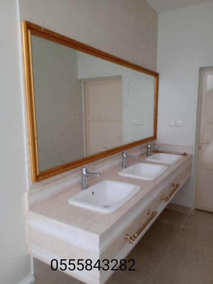 مغاسل رخام حمامات الرياض Bathroom Mirror Framed Bathroom Mirror Mirror