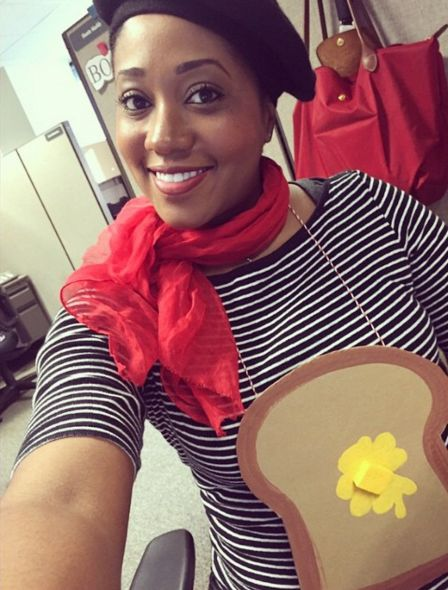 """Breakfast costumes are some of the best costumes, in our opinion, and this one is super easy. A striped shirt, beret, red scarf and construction paper """"toast"""" make this clever French Toast outfit a cinch to pull off. Click through for more on this and other funny pun Halloween costumes."""