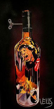 """""""Start Me Up"""" Mic Jagger art by Stacey Wells Paintings of wine bottles reflecting good times had with music and wine"""