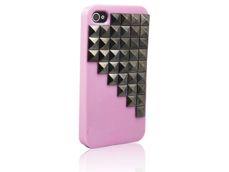Hardcover Snap Case hoesje iPhone 4/4S vierkante studs roze