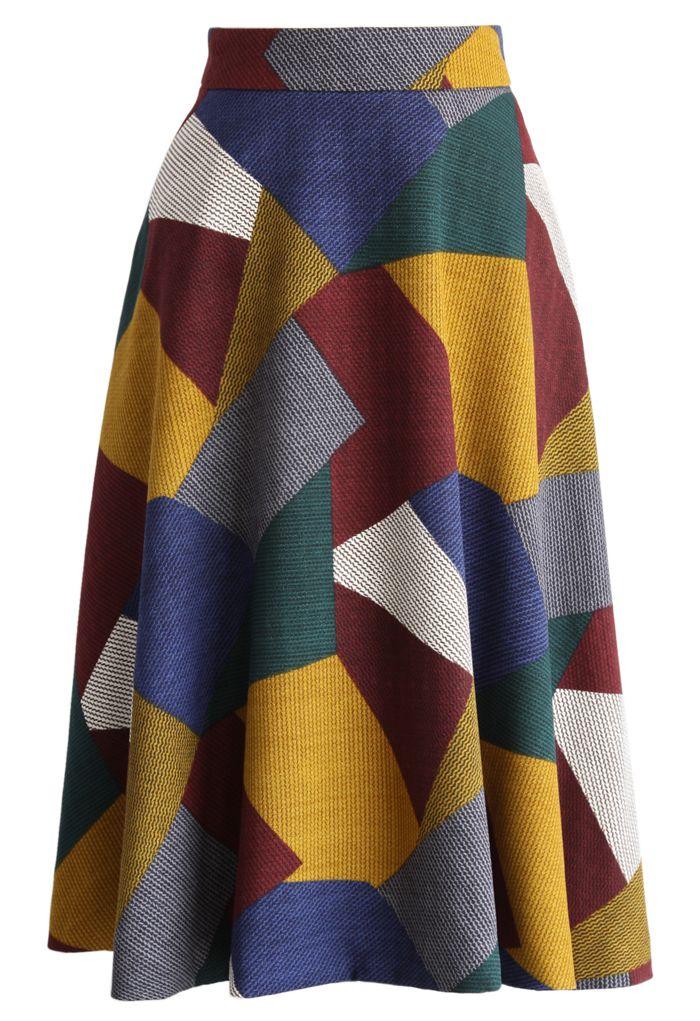 Retro Color Blocks A-line Midi Skirt - New Arrivals - Retro, Indie and Unique Fashion
