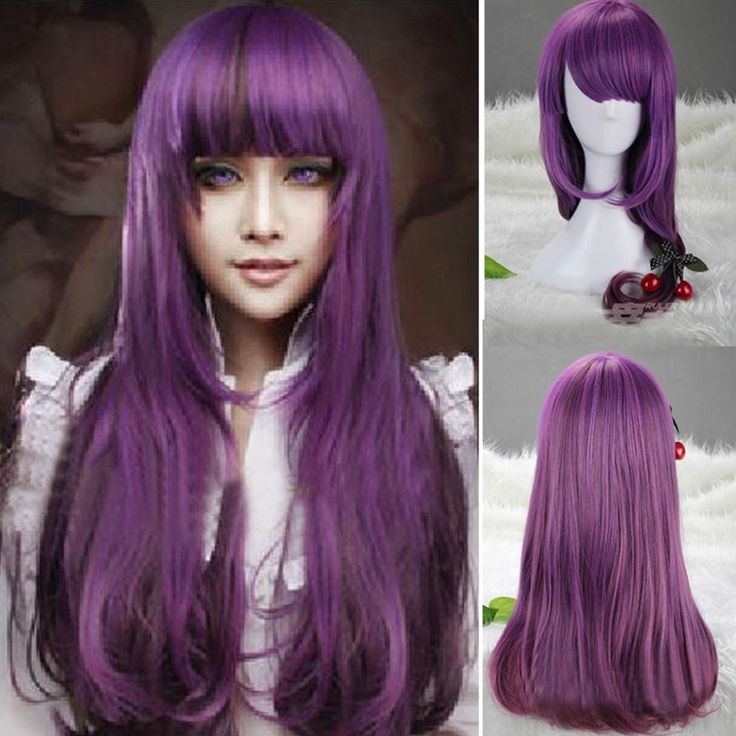 Womens Long Wavy Curly Purple Lolita Hair Anime Full Wigs Cosplay Party Costume #new #FullWig