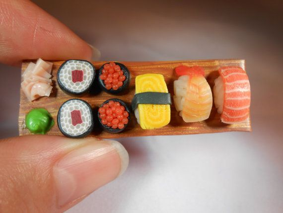 Sushi Platter Brooch/Badge, Miniature Food, Fimo Polymer Clay