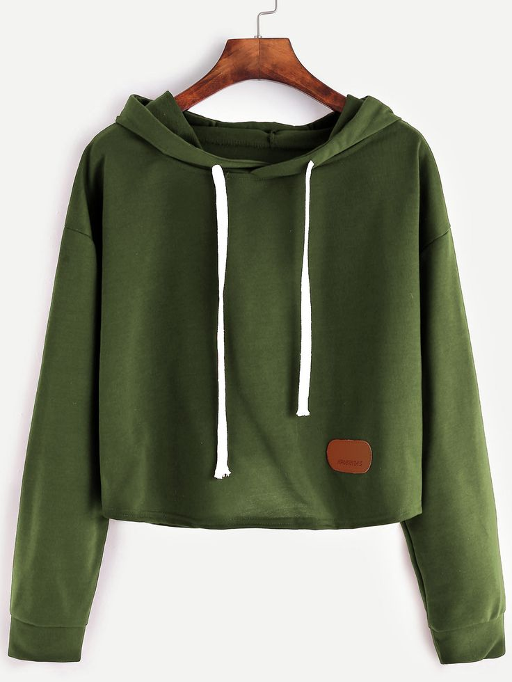 Army Green Hooded Patch Crop Sweatshirt — 0.00 € ----------------color: Green size: one-size
