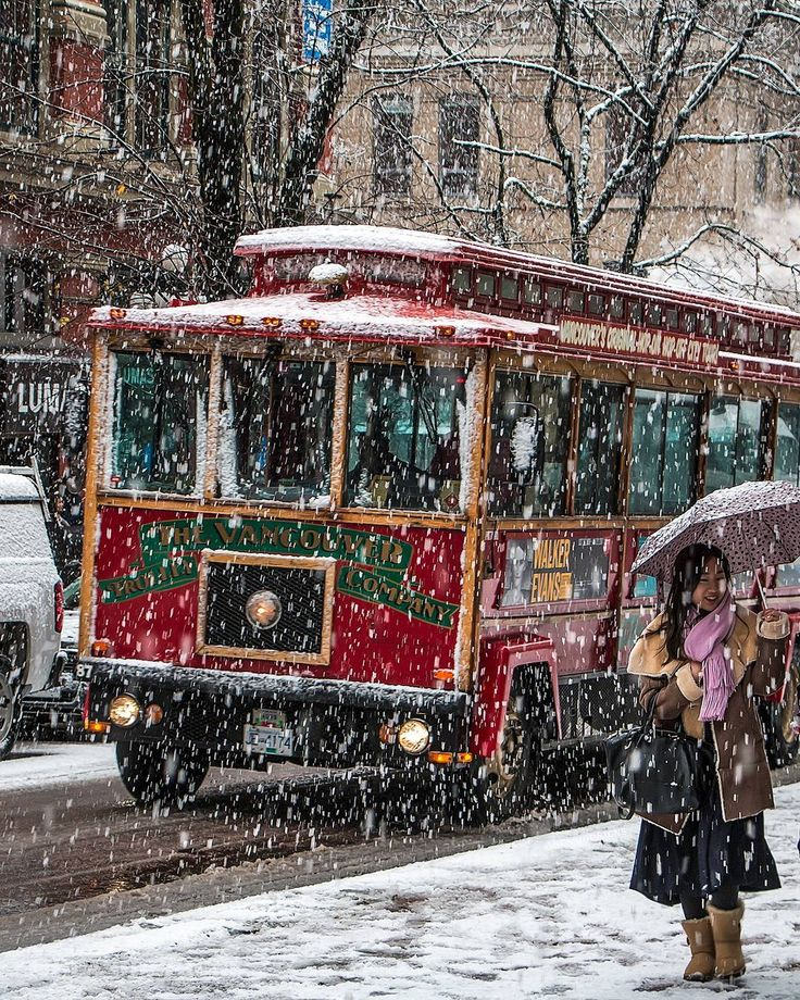 Snow Ride Take it easy this is just a throwback for those of you who wanted a white Christmas this year. Weather reports say it's not going to happen. So this is the first day it snowed last December on the 5th. A San Francisco style trolley cruising up Water Street near Cambie Street in historic Gastown. Captured in Vancouver British Columbia Canada  December 5 2016  #Snowcouver SnowItsNot #Gastown #Vancouver @Vancouver_Canada #VeryVancouver #VisitaVancouver #CuriocityVan #VancityFeature…