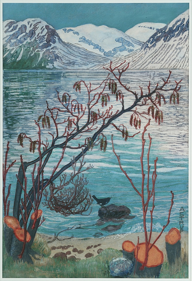 Nikolai Astrup 1880-1928: Bird on a Stone, colour woodcut with hand-colouring