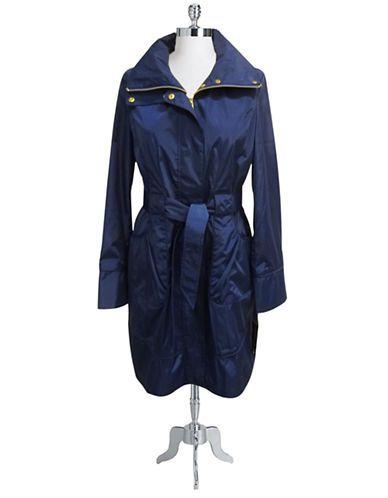 HILARY RADLEY NEW YORK Belted zip front black raincoat