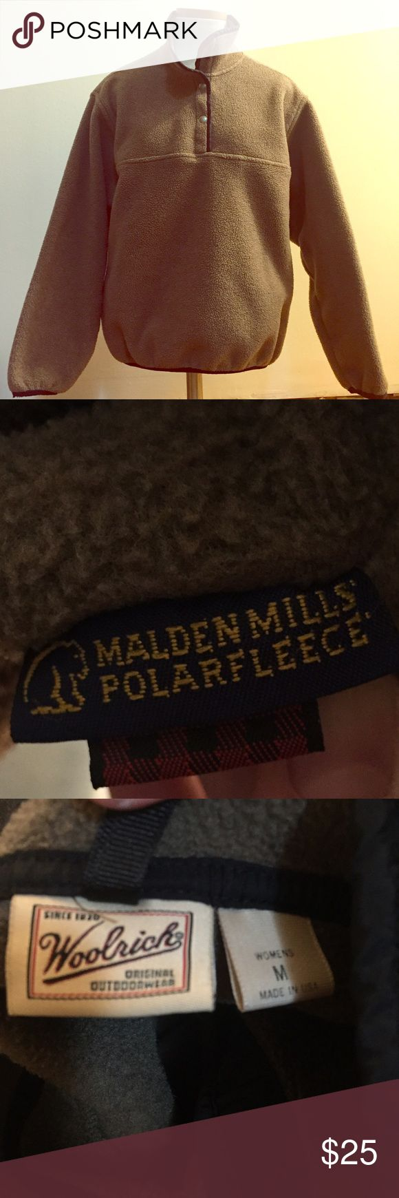 Woolrich Brown Snap Malden Mills Polar Fleece Woolrich Brown Snap Malden Mills Polar Fleece in size medium. Good used condition. Great warm layer for fall or winter. This would also be great for hiking. 100% polyester. Similar style to the Patagonia snap synchilla pullover Woolrich Sweaters
