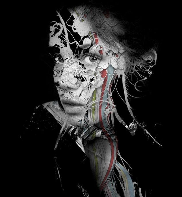 Indifferent  Don't miss these amazing and beautiful works. A collaboration between Andres Hernandez (Photo) and Alberto Seveso (Illustration).