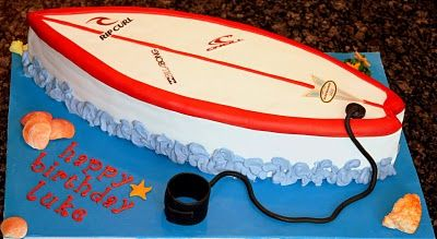 Surfboard Cake. All decorations/pieces are edible.