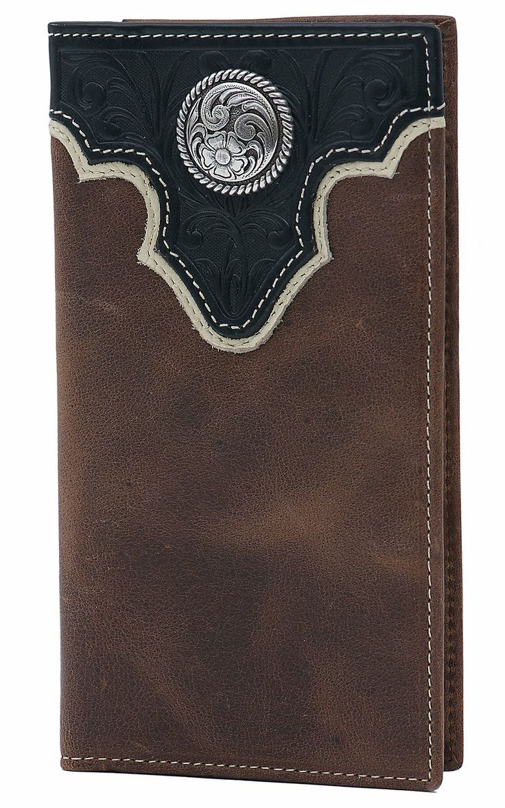Vintage Leather Look Jeremiah Verse Bible Book Cover Large: Ariat® Brown With Black Tooled Overlay And Circle Concho