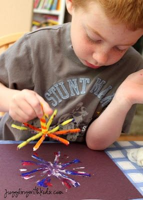 FIREWORKS!!  Neat idea - Dip your pipe cleaner in the paint and stamp away! I told the kids to stamp in the same spot. After they lift the pipe cleaner up, turn it a little and stamp again. And repeat the process with a new color. children-s-art