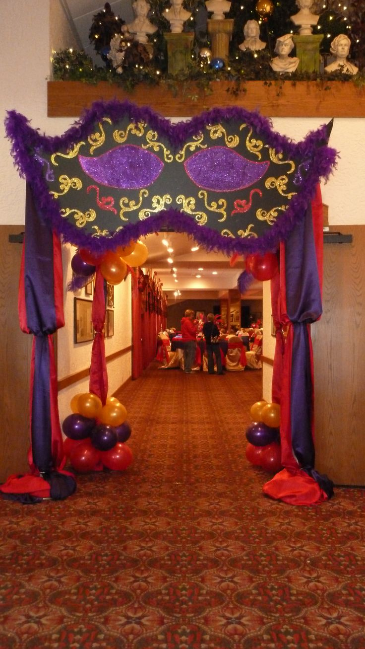 Entrance arch for the prom masquerade theme pinterest for Arch decoration supplies