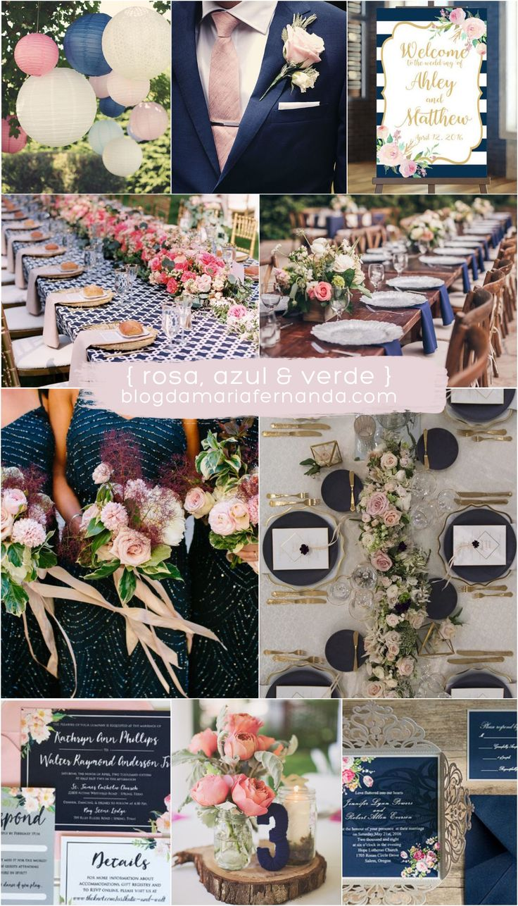 Decoração de Casamento : Paleta de Cores Rosa Azul e Verde | Wedding Color Palette Rose, Dark Blue and Green | Light Pink, Dark Blue  and Green