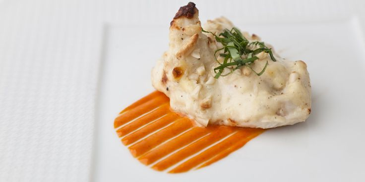 Gratinated pine nut-basil chicken with saffron mayo