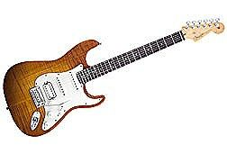 Fender American Select Series Stratocaster HSS Electric Guitar - Alder Body with Flame Maple Top - Rosewood Fretboard - Antique Burst Finish - Includes Case