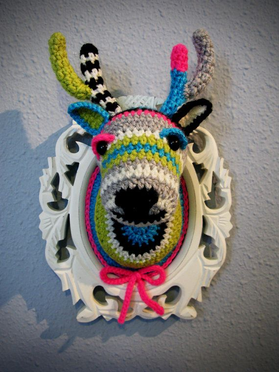 Crocheted deer head in a wooden white frame by ManafkaMina on Etsy, ₪450.00