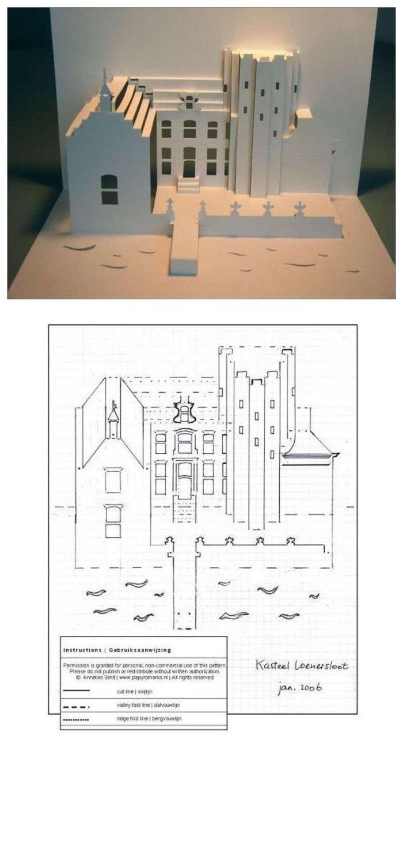 3D paper card - church