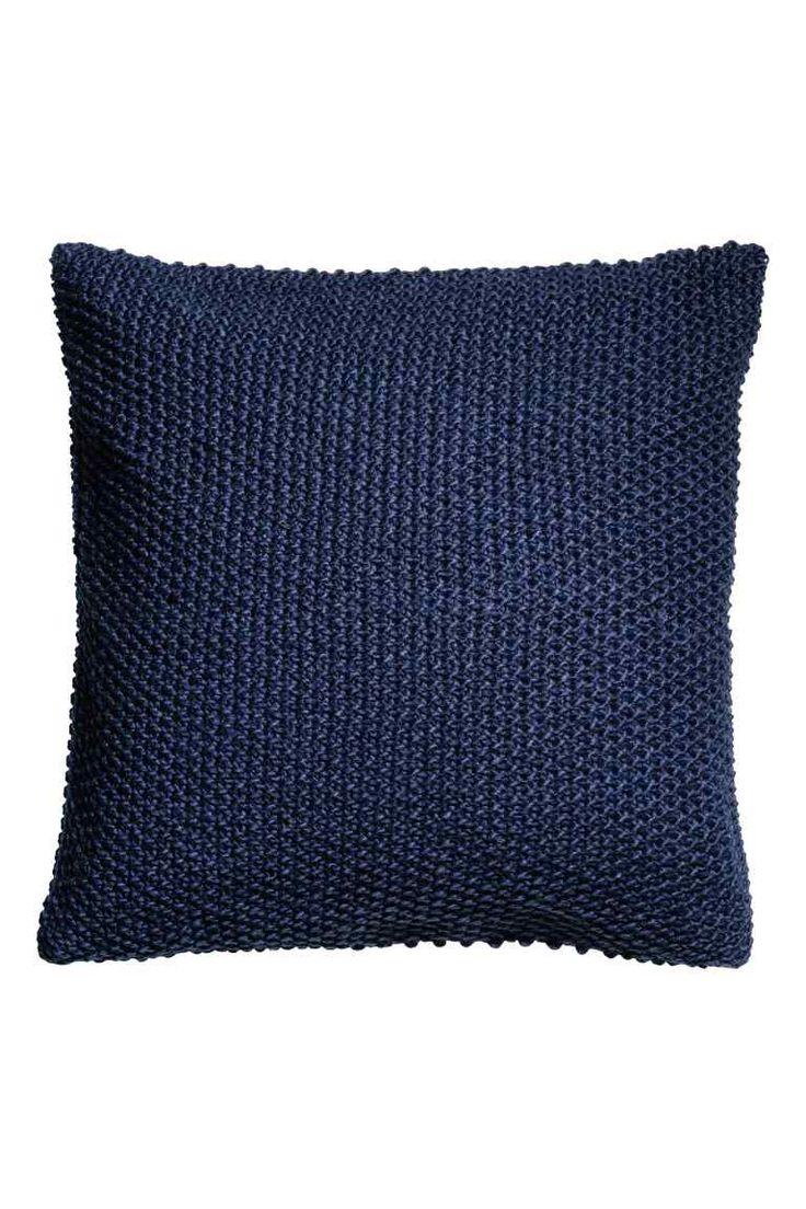 Gebreide kussenhoes - Donkerblauw - HOME | H&M NL