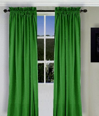 Kelly Green Curtains In Living Room With Pewter Walls