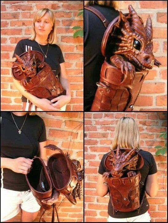 Dragon backpack by Bob Basset - love the hidden lid, so clever