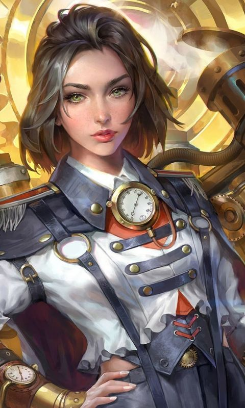 Woman, fantasy, warrior, artwork, steampunk, 480×800 wallpaper