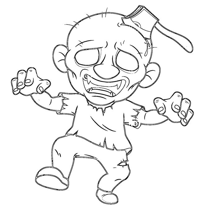 Zombie Princess Coloring Pages : The bald headed zombie coloring pages halloween cartoon