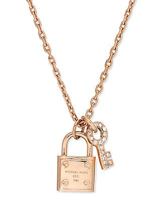 Michael Kors Rose-Gold-Tone Padlock and Key Charm Necklace