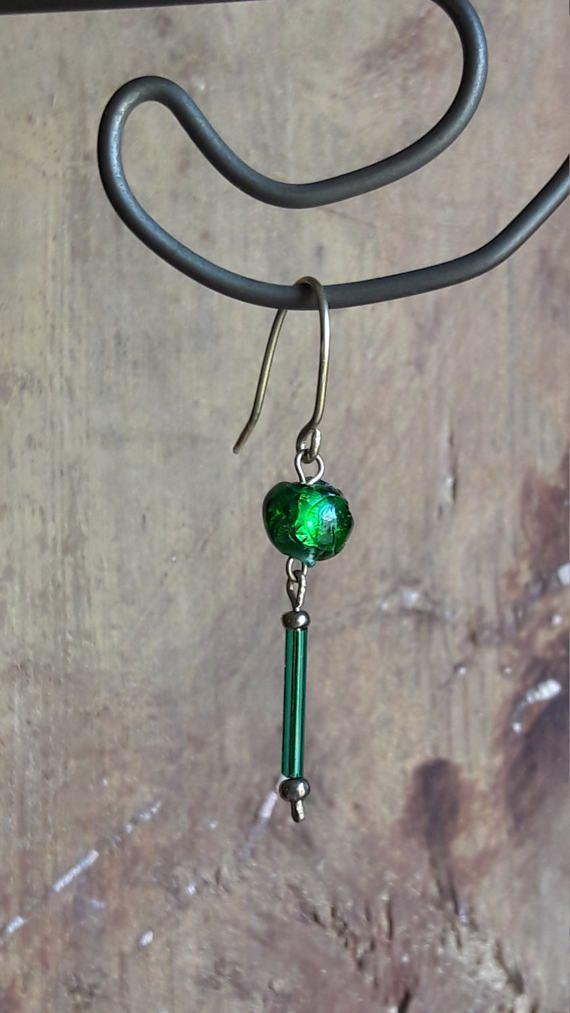 Green earrings Venetian lampworks earrings Dangle earrigs