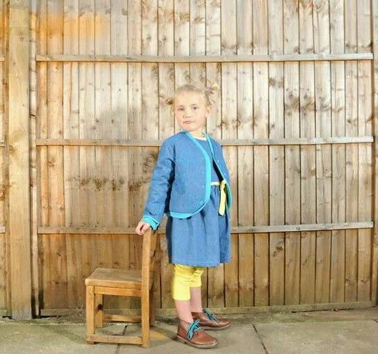 Denim and jersey quilted jacket and party dress. Immink kids wear.