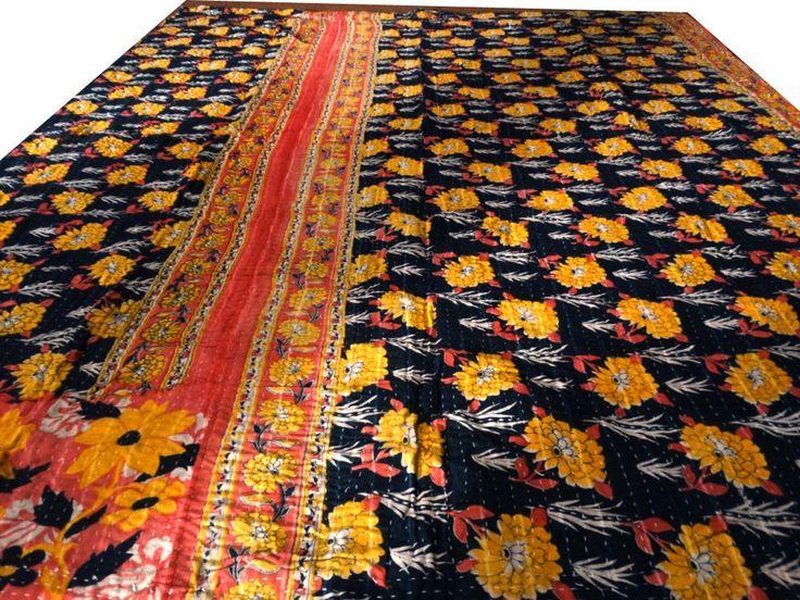 Reversible Kantha Quilt Vintage Bedspread Cotton Blanket Decorative Throw VIT169 #Handmade #Traditional