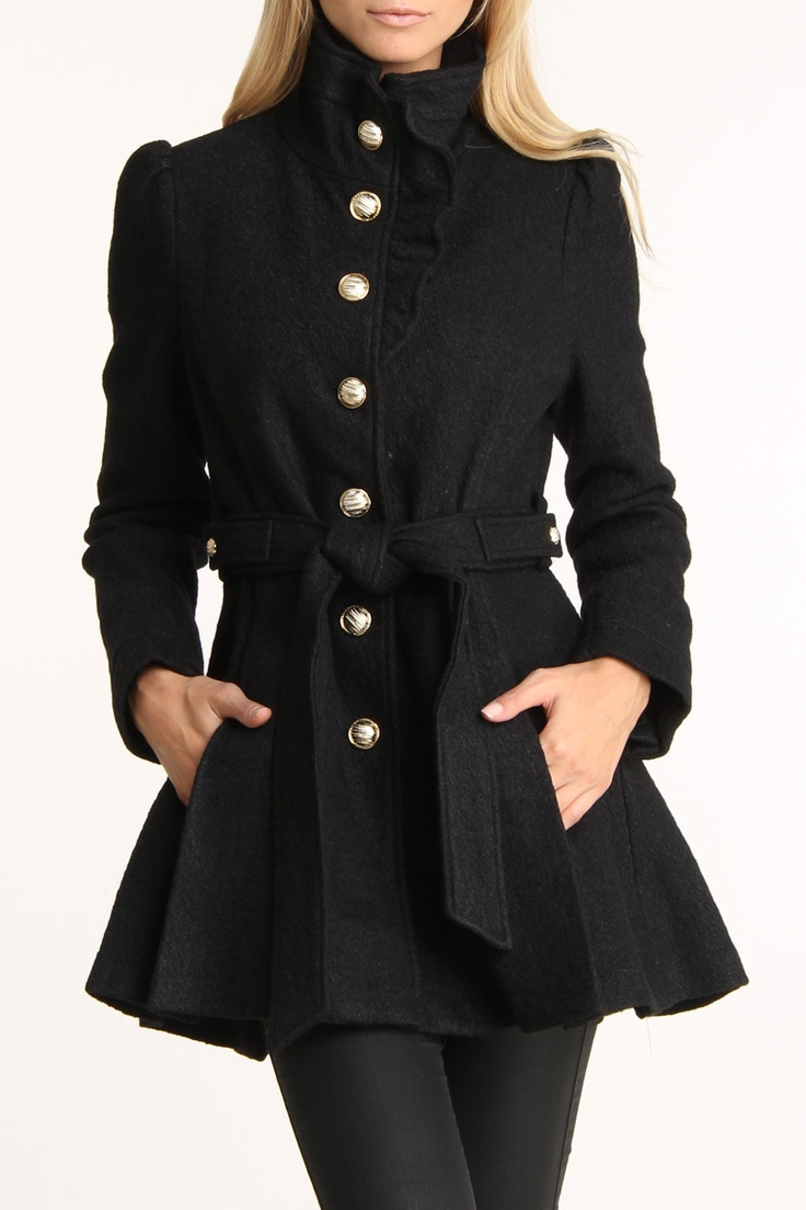 Bebe Boucle Ruffle Placket Wool Coat In Black