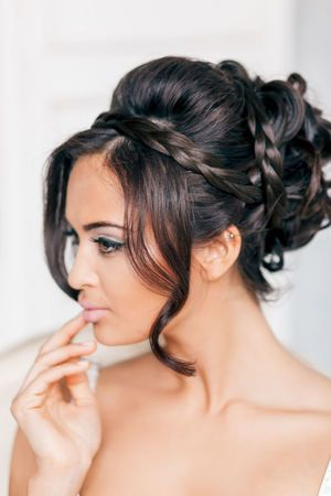 Wedding Hairstyles ~ Plaid updo & neutral make-up #WeddingPlanning #HappyPlanningBGP