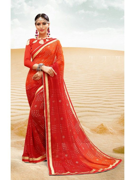 Mesmeric Shaded Cherry Red and Orange Bandhej Bandhej Saree