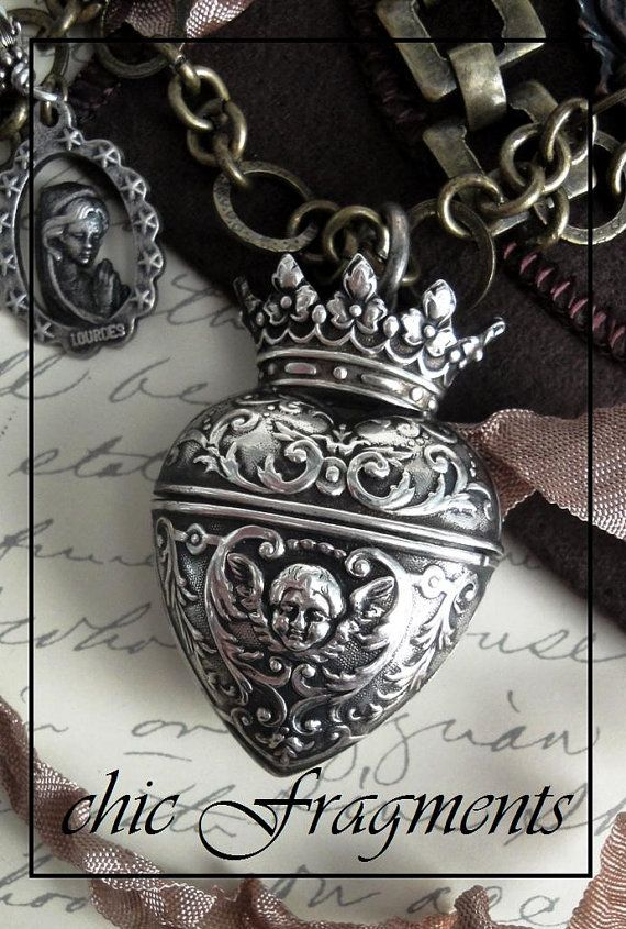 Cherub Crown Heart Locket in a Necklace by chicfragments on Etsy,