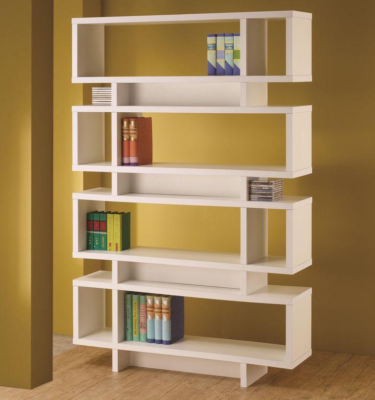 Bookcases Contemporary White Finish Open Bookcase