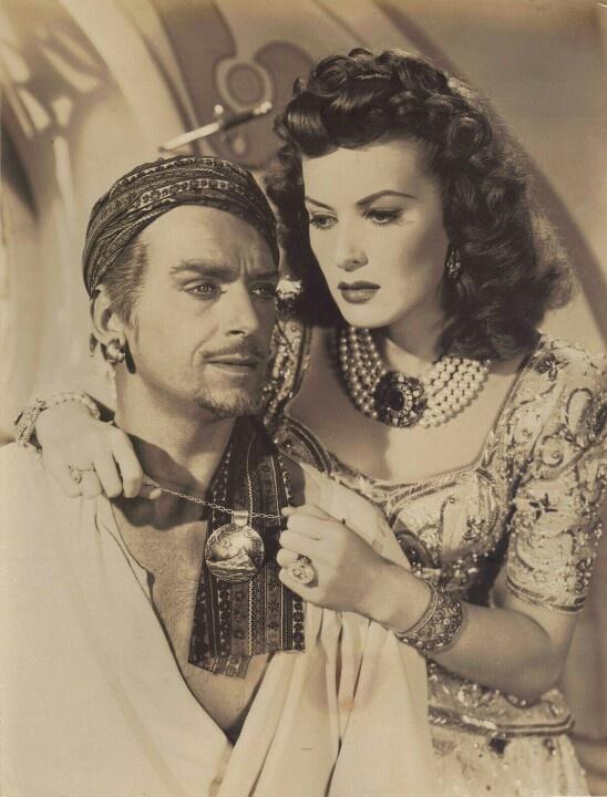 Maureen OHara and Douglas Fairbanks Jr in Sinbad the Sailor wearing Joseff Hollywood Jewelry
