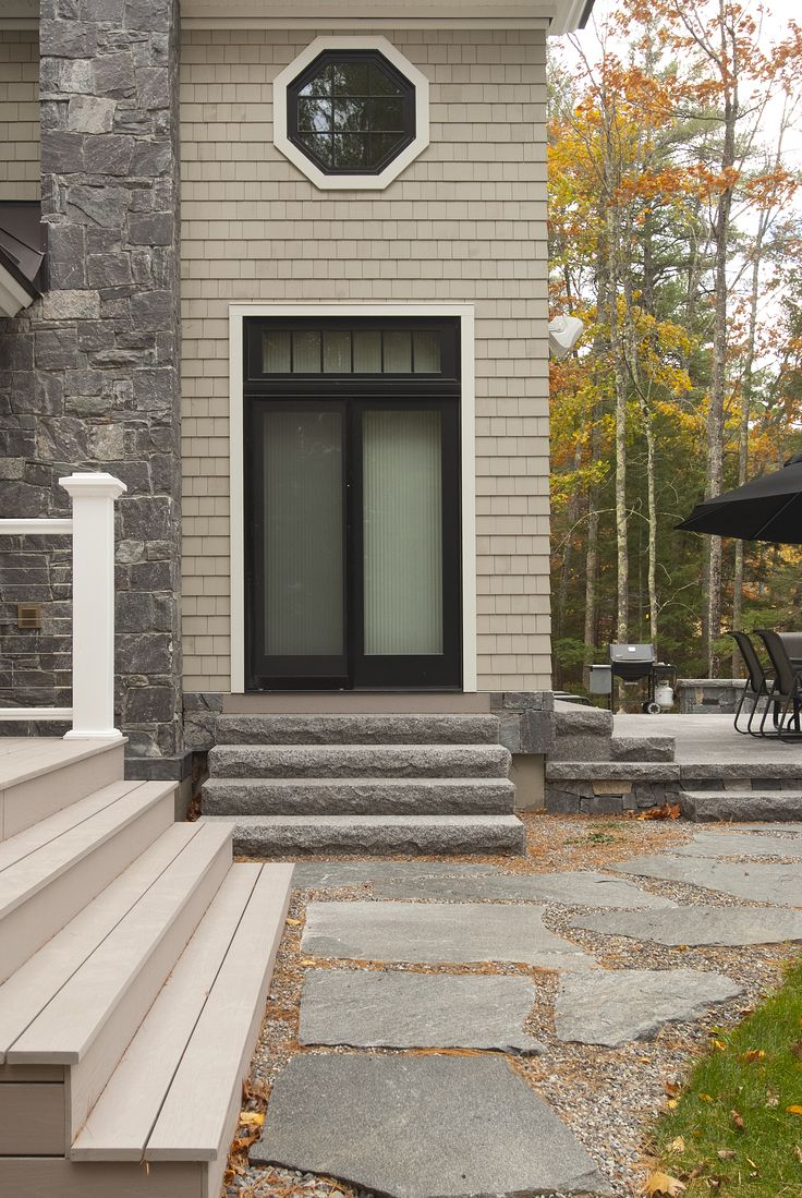 The Large Old Chester Granite Irregular Natural Flagstone Walkway Blends In  Beautifully With The Natural Surroundings. Walkway To Backyard Patio.