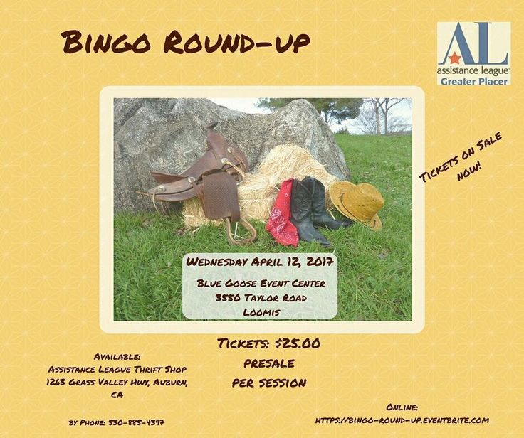 Our members are working hard to make the Bingo Round-Up event a success on April 12th. Where?  Blue Goose Event Center 3550 Taylor Rod Loomis.  See Y'all there!  For tickets go here  buff.ly/2khBfio or #AssistanceLeague of Greater Placer - Thrift Shop 1263 Grass Valley Hwy Auburn #bingoroundup #bingo #games #fundraiser