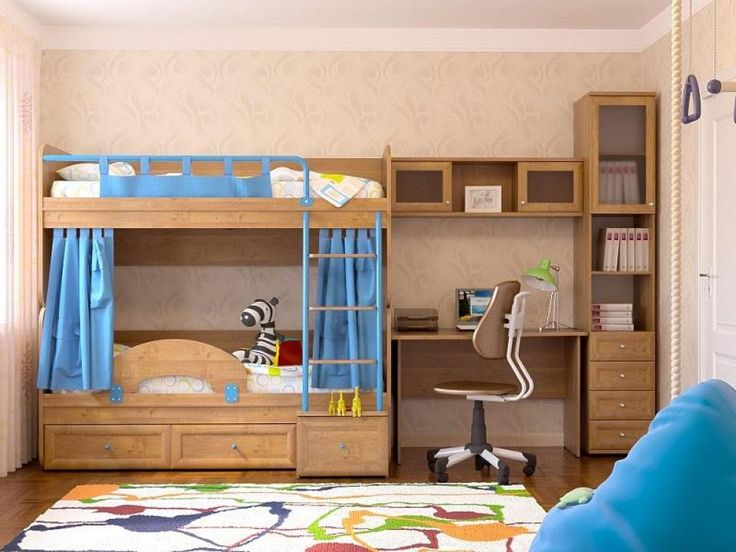 http://taizh.com/wp-content/uploads/2014/12/fashionable-wooden-bunk-bed-design-with-blue-curtain-and-drawer-storage-underneath-also-study-table-beside-and-brown-wallpaper-and-brown-swivel-chair-beside-colorful-rug-on-wooden-floor.jpeg