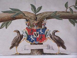 Het wapen van Margaretha Bouwina Tjarda van Starkenborgh , detail van de kwartierstaat. - Foto: Landgoed Borg Verhildersum