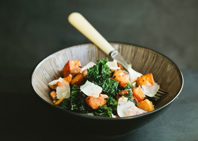 Kale Salad with Butternut Squash and Almonds