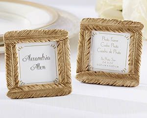 Gold Feather Frame Place Card Holders, Bohemian Wedding