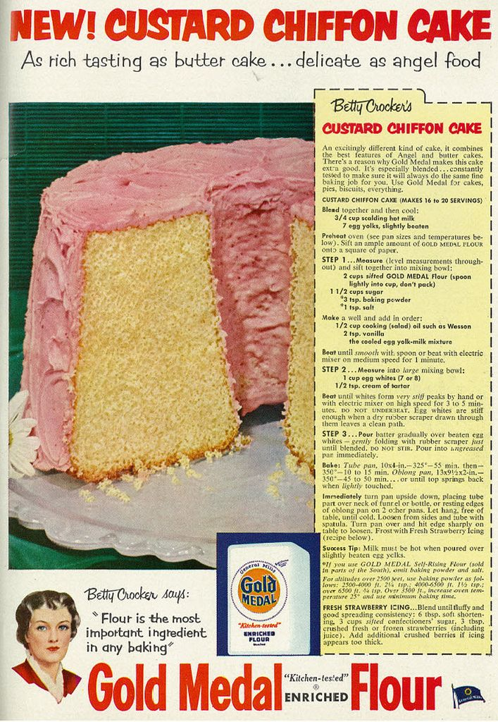 Family Circle, July 1953 Gold Medal Flour Custard Chiffon Cake