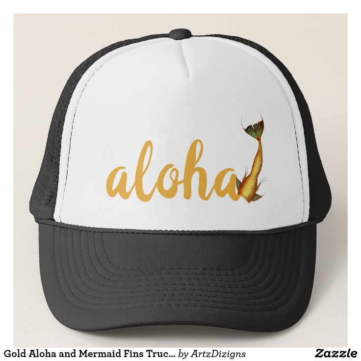 Gold Aloha and Mermaid Fins Trucker Hat   http://www.zazzle.com/artzdizigns?rf=238365382999242687* #TruckerHat #Aloha #MermaidTail #FishTail #Tropical #zazzle #zazzlemade