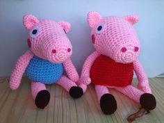Peppa Pig y su Hermano George Amigurumi - Patrón Gratis en Español aquí: http://cafeconlana.blogspot.com.es/2015/01/peppa-pig-patron.html