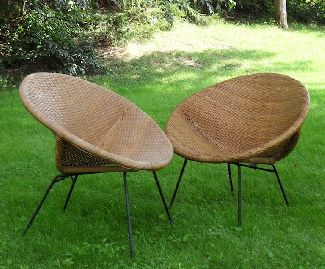 These Are 2 Full Size Original Finish, Vintage His And Heru0027s Wicker/rattan/bamboo  Sphere Patio Chairs. They Both Have Black Metal Bases And Original Tips On  ...